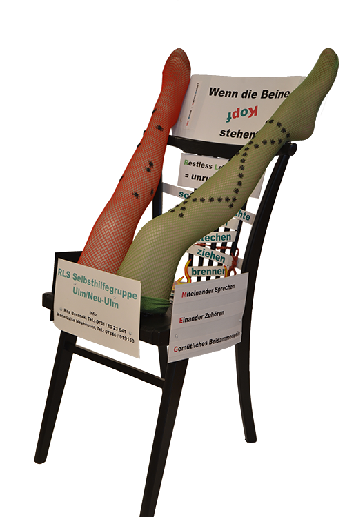 Stuhl-Kunstwerk der Selbsthilfegruppe Restless Legs