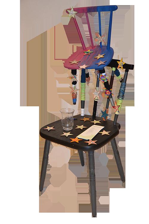 Stuhl-Kunstwerk von Sternenkinder Ulm - Selbsthilfe für trauernde Eltern