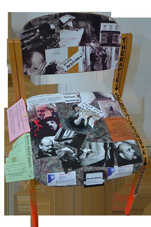 Stuhl-Kunstwerk der Selbsthilfegruppe Leben (Sucht und Freizeit)